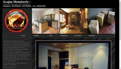 Site internet de Acajou Menuiserie