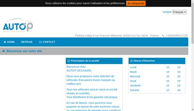 Site internet de Auto'P Occasion