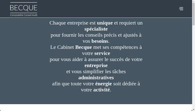 Site internet de Becque Expertise Comptable