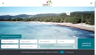 Site internet de Corse Patrimoine Immobilier