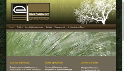 Site internet de Environnement Investigations