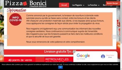 Site internet de Pizza Bonici