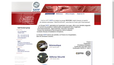 Site internet de Services et Assistance en Techniques Industrielles Francaises - Satif