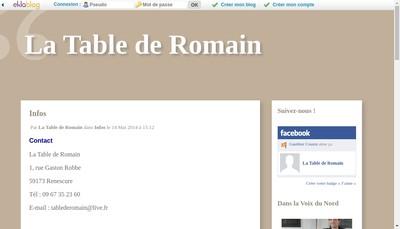 Site internet de La Table de Romain