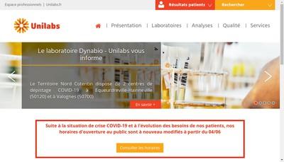 Site internet de Dynabio Unilabs