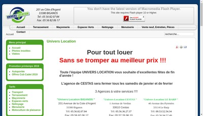 Site internet de Univers Location
