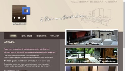 Site internet de ADM Menuiserie