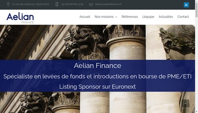 Site internet de Aelian Finance