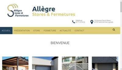Site internet de Allegre Stores et Fermetures