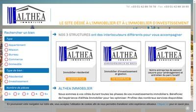 Site internet de Althea Immobilier