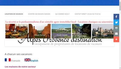 Site internet de Alpes Provence Destination