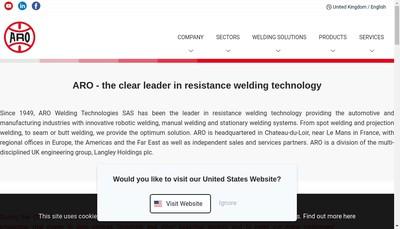 Site internet de Aro Welding Technologies
