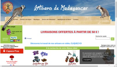 Site internet de Artisans de Madagascar