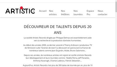Site internet de Artistic Records