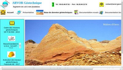 Site internet de Arvor Geotechnique