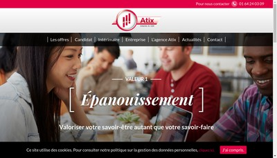 Site internet de Atix Interim