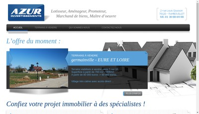 Site internet de Azur Investissements