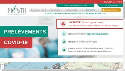 Site internet de Biopath Hauts de France Nord