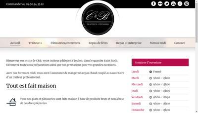 Site internet de C et B Traiteur Patissier