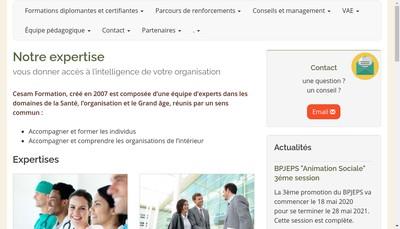 Site internet de Cesam Formation