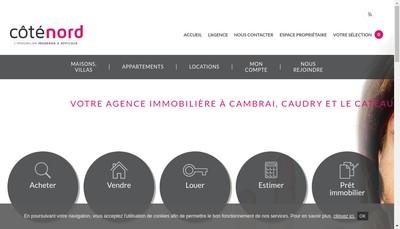 Site internet de Cote Nord Immobilier Caudry