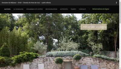 Site internet de Le Domaine de Mejeans