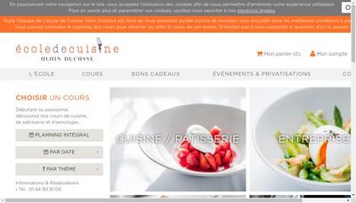 Site internet de L'Ecole de Cuisine d'Alain Ducasse