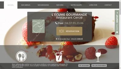 Site internet de L'Ecume Gourmande