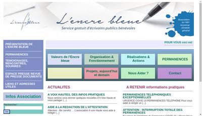 Site internet de Encre Bleue