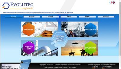 Site internet de Evolutec Ingenierie