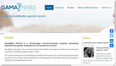 Site internet de Gamamabs Pharma
