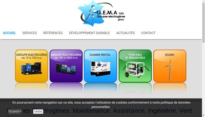 Site internet de GEMA Groupe Electrogenes Maintenance