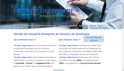 Site internet de Groupe Ingenium