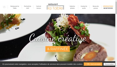 Site internet de La Table de Tourtour