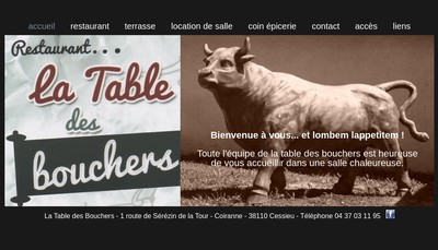 Site internet de La Table des Bouchers