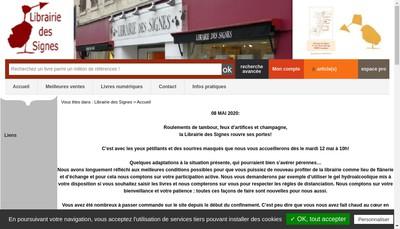 Site internet de SARL Librairie des Signes
