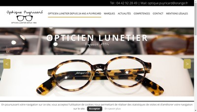 Site internet de Optique Puyricard