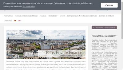 Site internet de Paris Private Finance