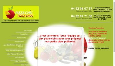 Site internet de Pizza Chic Pizza Choc