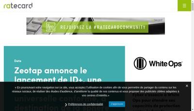 Site internet de Ratecard - Adnovia