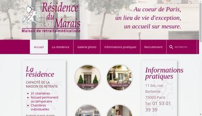 Site internet de Residence du Marais