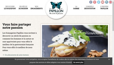 Site internet de Fromageries Papillon