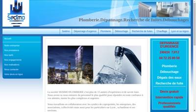 Site internet de Sedimo Plomberie