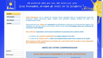 Site internet de Solae Prevoyance
