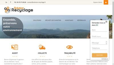 Site internet de Solution Recyclage