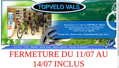 Site internet de Topvelo Vals