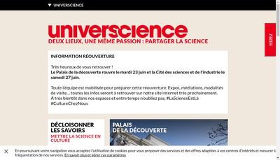 Site internet de Universcience Partenaires