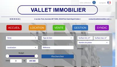 Site internet de Vallet Immobilier