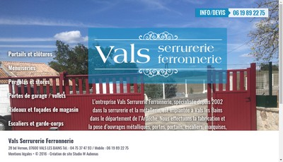 Site internet de Vals Serrurerie Ferronnerie