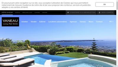 Site internet de Vaneau Cote d'Azur